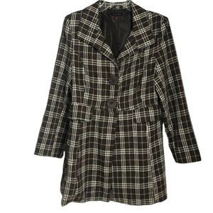 Last Kiss Brown and Cream Plaid Coat Size Medium